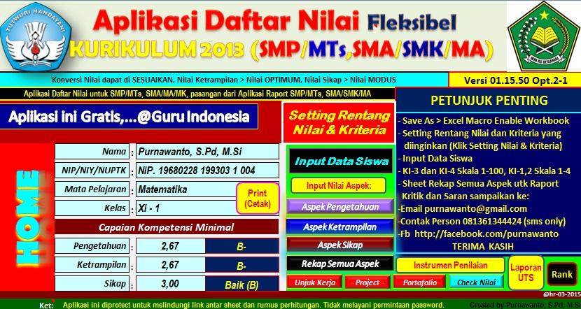 aplikasi nilai kurikulum 2013 smp